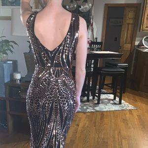 Gianni Bini Dresses - Gianni Bini Black/Gold Sequin Formal Size 0